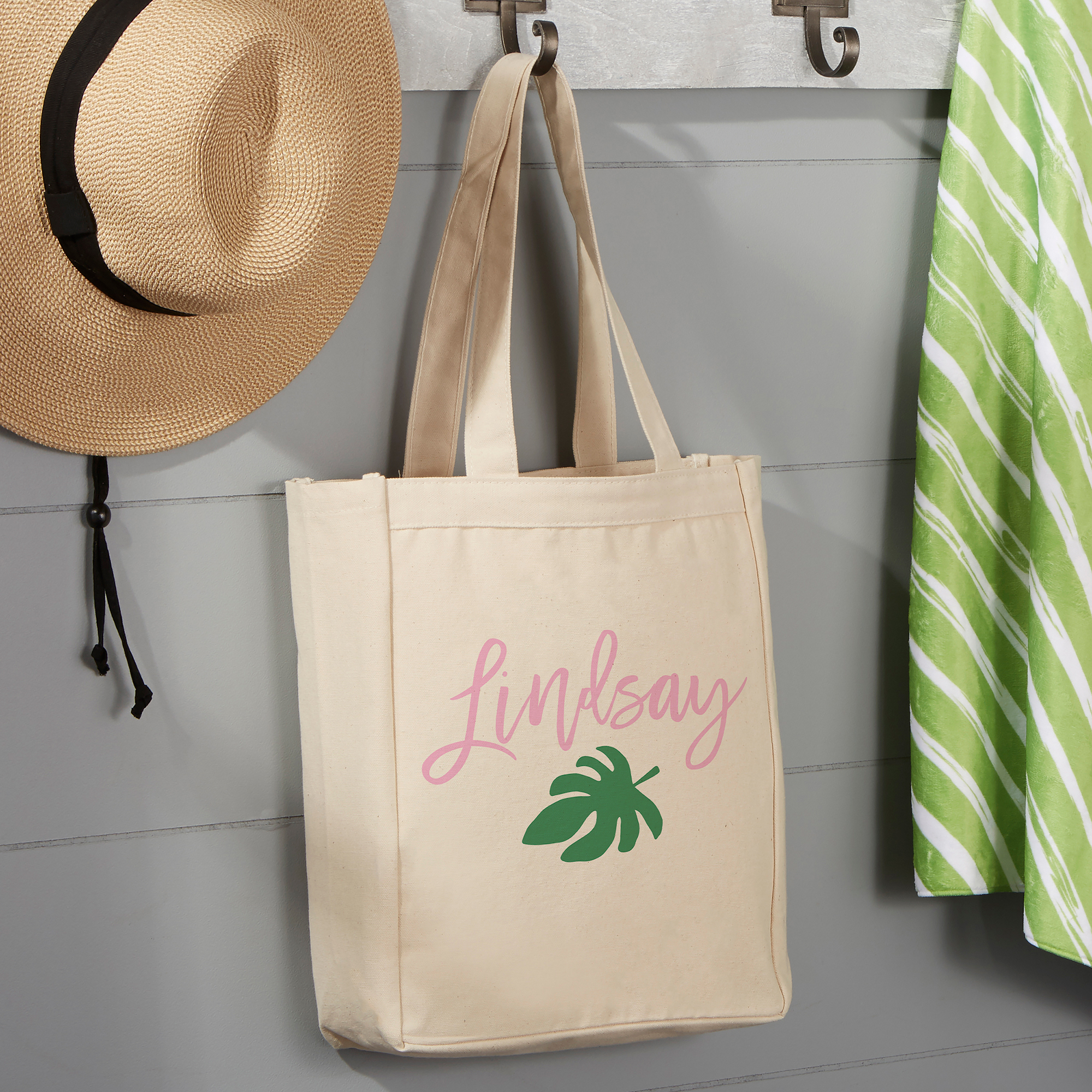 Palm Leaves Personalized Beach Bag