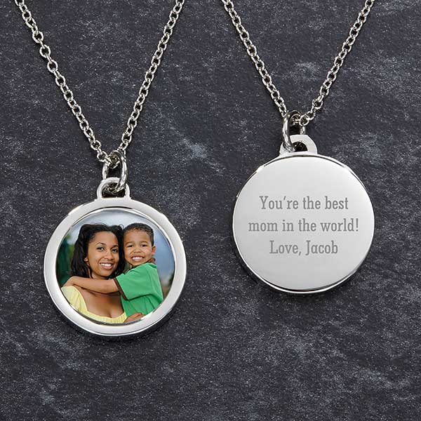 Engraved Photo Necklace for Mom