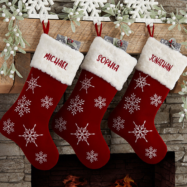 Winter Wonderland Red Velvet Christmas Stockings