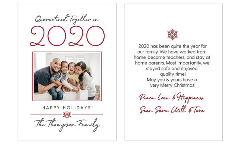 Quarantined Together in 2020 Christmas Cards