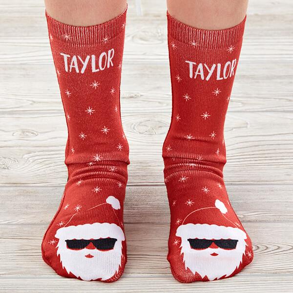 Santa Sunglasses Kids Christmas Socks