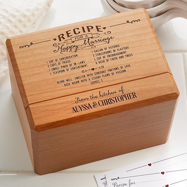 Wood Anniversary Ideas - Wooden Recipe Box