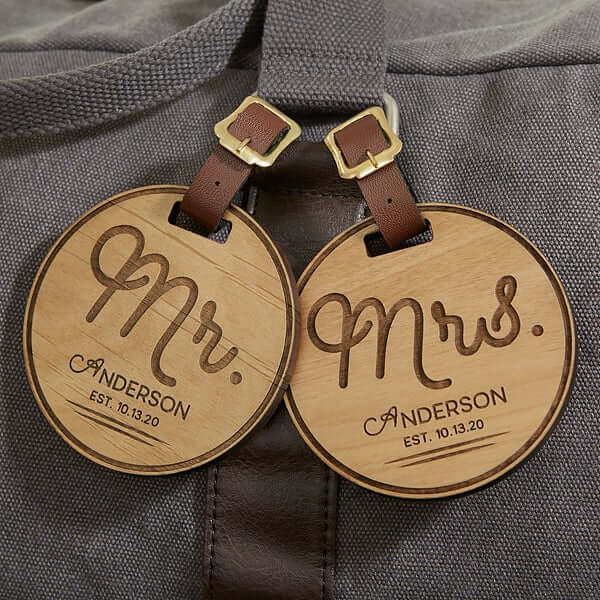 Personalized Wood Luggage Tags Engagement Gifts