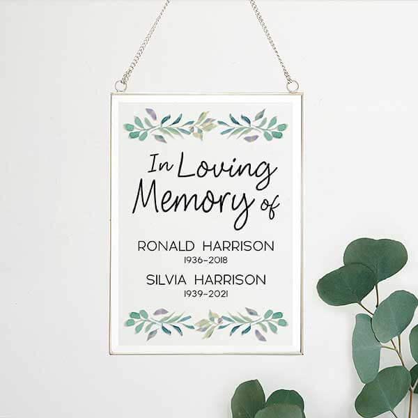 Serene Memorial Wedding Glass Wall Sign