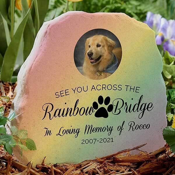 Rainbow Bridge Pet Memorial Garden Stone with Photo