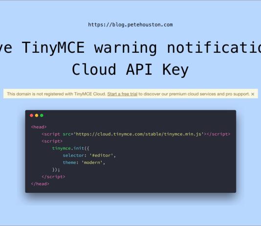 Remove TinyMCE warning notification on Cloud API Key