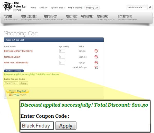 Black Friday Discount on www.ThePeterLeStore.com