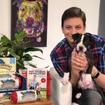 zak george with puppy and dog food toppers