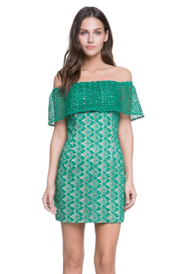 Petite lace dress green off the shoulder