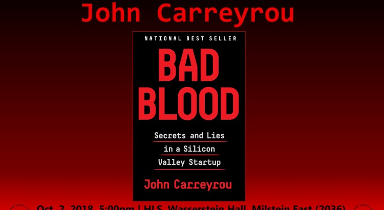 Poster for Bad Blood Book Talk