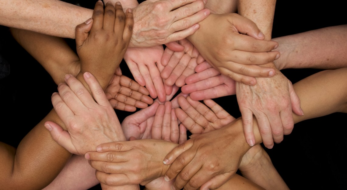 Hands with various skintones put together