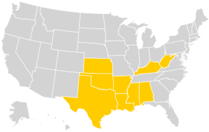Map that highlights nine states (Kansas, Oklahoma, Texas, Arkansas, Louisiana, Mississippi, Alabama, Kentucky, West Virginia) that ban dismemberment, or dilation and evacuation (D&E), abortion.