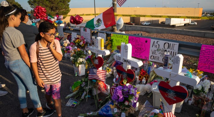 Photograph of memorial to victims of the El Paso, TX mass shooting