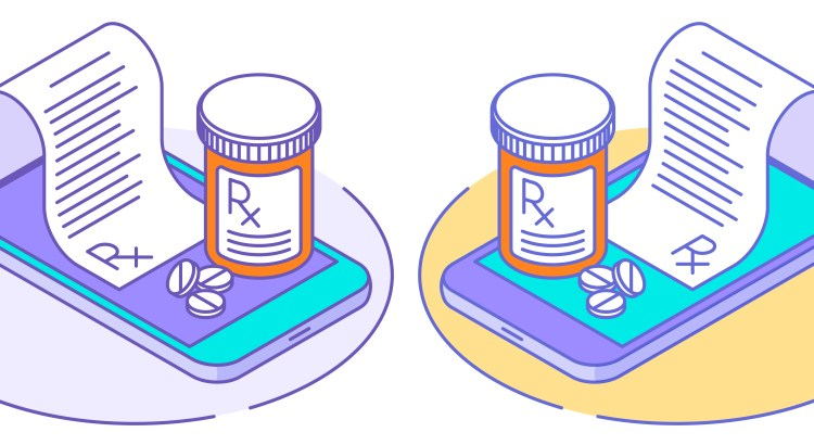 Illustration of cell phones and prescription pill bottles