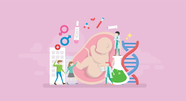 Illustration of fetus, DNA, lab supplies