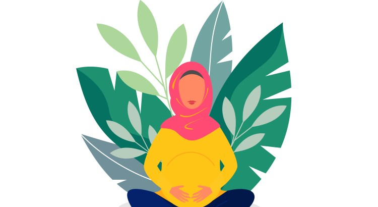 Illustration of a pregnant Muslim woman in a hijab sitting cross-legged in front of plants