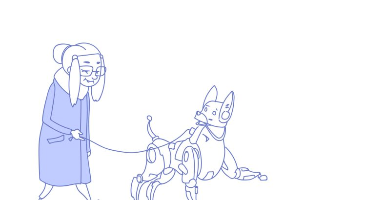 Illustration of a senior woman walking with modern robot dog