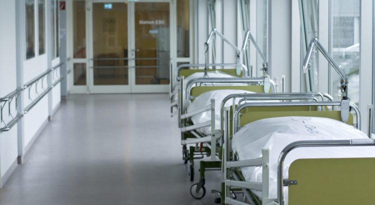 corridor with hospital beds