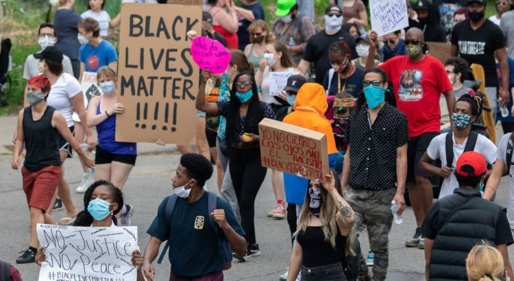 "Minneapolis, MN / USA - May 26 2020: Black Lives Matter, ""I Can't Breathe"" Protest for George Floyd."
