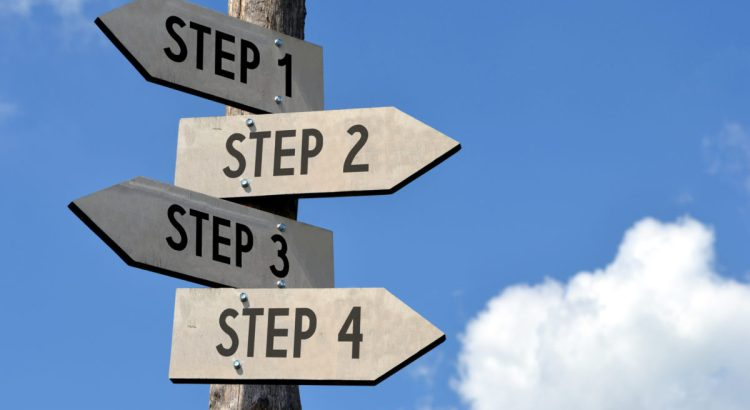 Steps 1, 2, 3, 4 signpost.