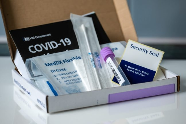 Burgess Hill, West Sussex – 12 January, 2021 Covid-19 home PCR self-test kit.