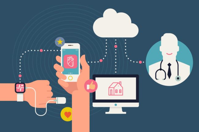 illustration of person tracking his health condition with smart bracelet, mobile application and cloud services.
