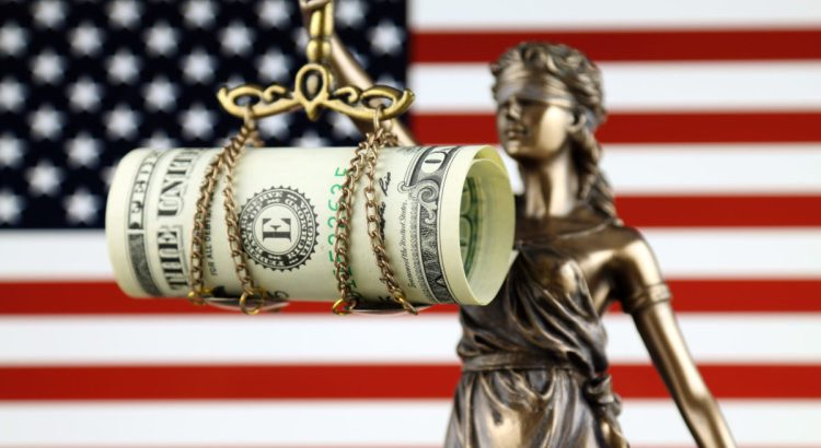 Symbol of law and justice, banknote of one dollar and United States Flag.