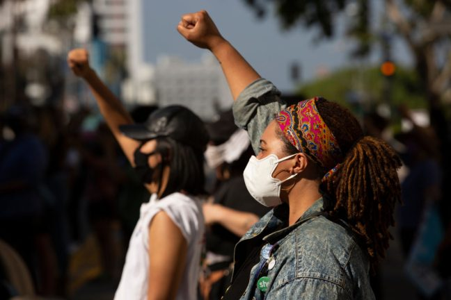 Los Angeles, California / USA - May 28, 2020: People in Downtown Los Angeles protest the brutal Police killing of George Floyd.