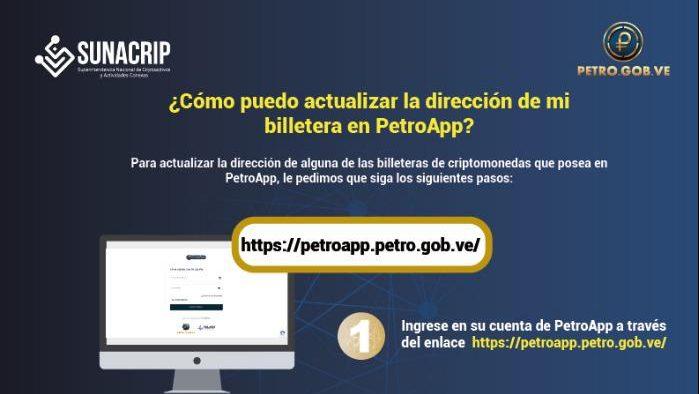 Pasos para la actualización de la cripto billetera PetroApp