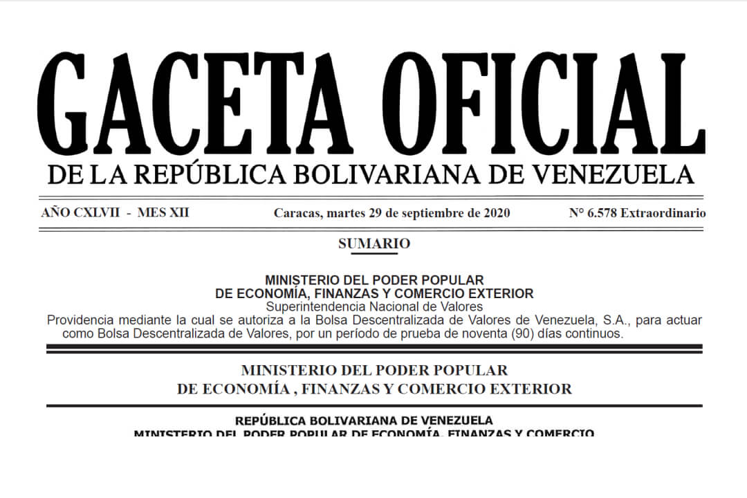 gaceta oficial extraordinar 30 septiembre 2020ia Venezuela número 6.578