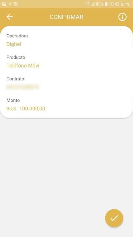 Confirmación de la Recarga de la aplicación veMonedero Patria