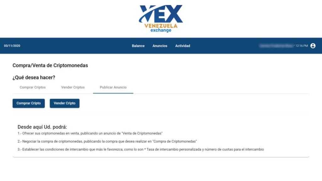 VEX - Publicación de anuncio de compra/venta de criptomonedas