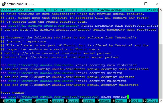Instalacja webmin w systemie Ubuntu Server 16 04 LTS