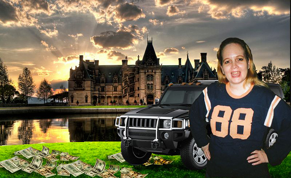 "Photo by Jeanine Oleson for an inmate who requested ""my mother standing in front of a mansion, or big castle with a bunch of money on the ground..."""