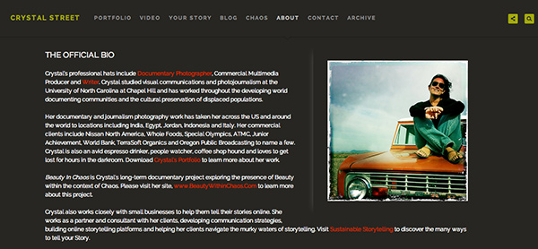 "Example of great ""about page"" from Crystal Street's PhotoShelter site"