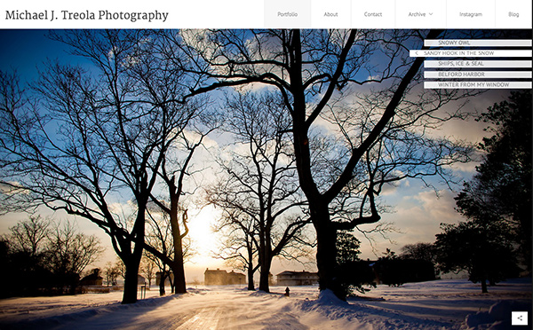 Homepage of Mike Tree PhotoShelter's Marquee template
