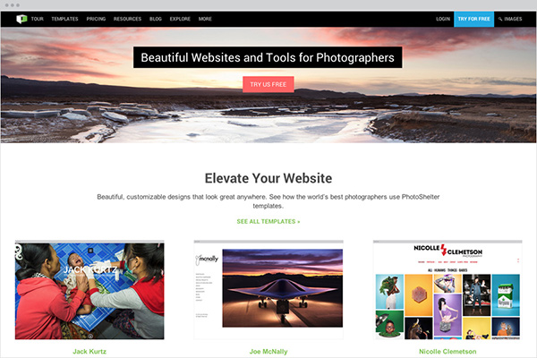 The all new PhotoShelter.com Homepage