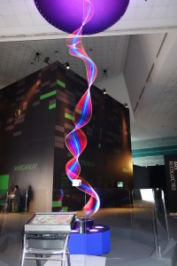 Physicist-turned-artists Paul Friedlander at the Science Centre Singapore in May 2015 with his Kinetic Light Sculpture