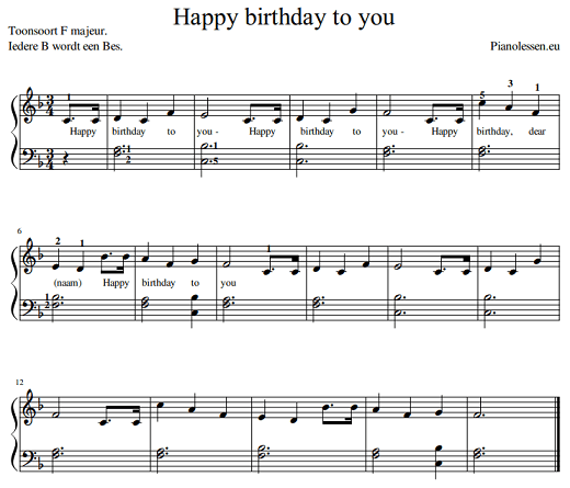 Happy birthday to you - verjaardag bladmuziek PDF