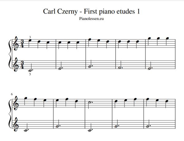 Czerny etudes voor beginners PDF
