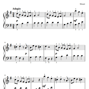 MOZART ARIOSO eenvoudige klassieke bladmuziek piano