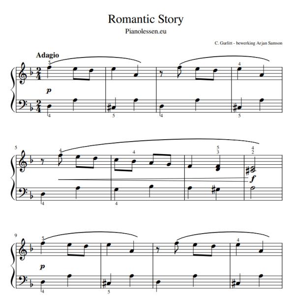 Romantic story Bladmuziek voor piano