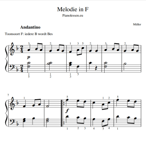 Muller melodie in F music sheet PDF