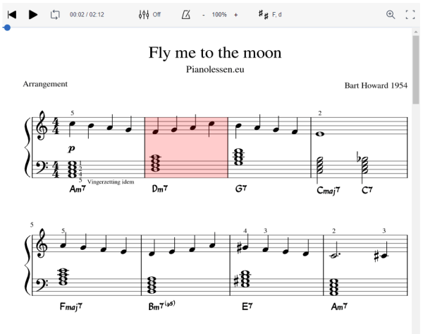 Fly me to the moon Meespeeltrack