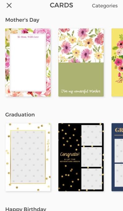 Scroll through Cards
