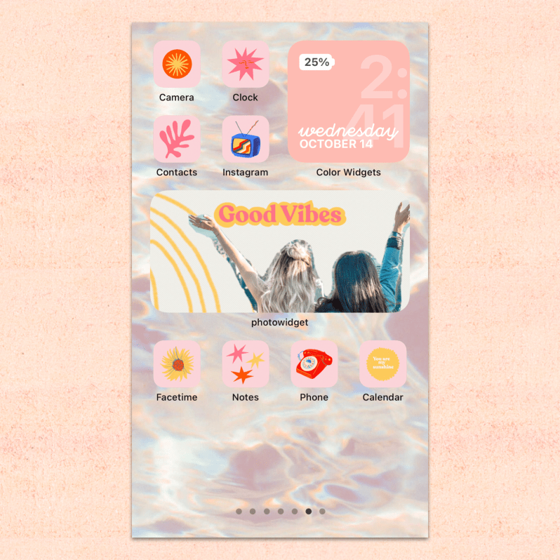 iOS 14 Everything Pink Theme Home Screen