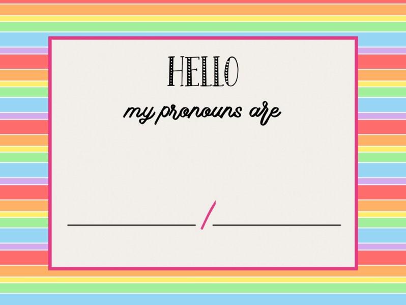 Celebrate Pride: gender pronoun resource card