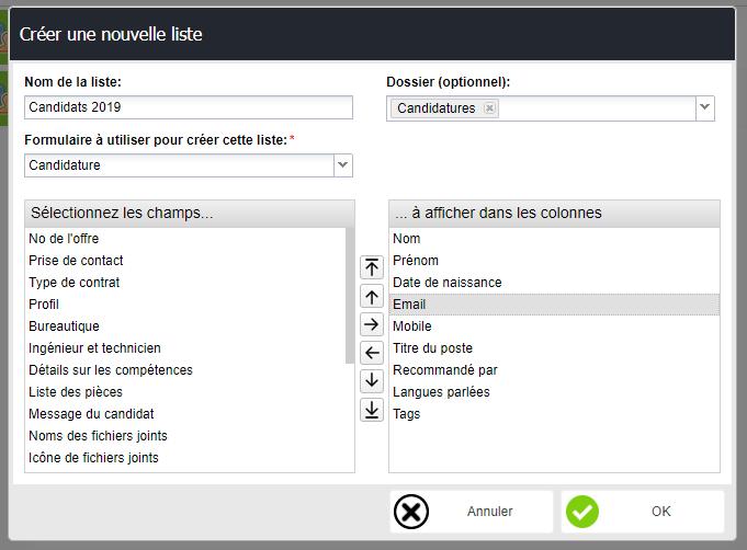 construction d'une liste de données application view builder