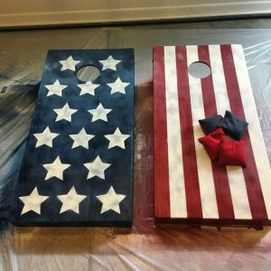 patriotic usa flag themed corn hold boards