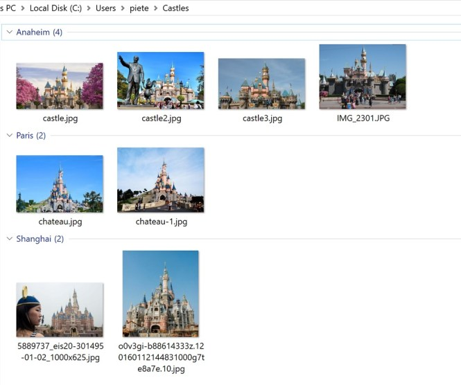 DisneyCastles result explorer